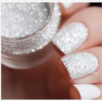 10ml Glitter Nail Art Powder White Silver Shining  Decoration Tool 1mm