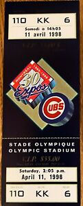 montreal expos vs chicago cubs ticket april 11 1998 unused rare and selling more