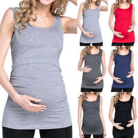Womens Maternity Solid Sleeveless Breastfeeding Pregnant Nursing Tank Vest Tops