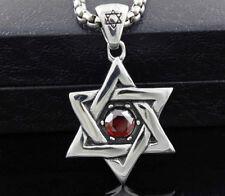 Ruby Hexagram Pendant Necklace Israel Jewish Stainless Steel Magen David Star W/