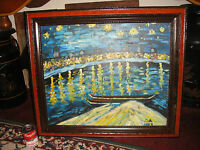 Abstract Oil Painting On Canvas Nautical Theme Signed Austin Boat Water Framed