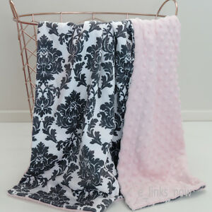 Baby Minky Blanket Stroller Cot Shower Gift Damask Pink 70cmx100cm