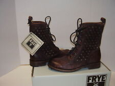 NEW FRYE JENNA DISC LACE MID CALF STUDDED BOOTS DK BROWN DISTRESSED LEATHER 7