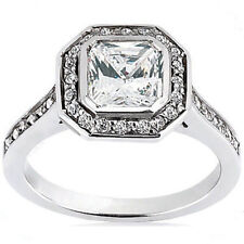 1.30 ct GIA cert. 0.90 ct Radiant Cut Diamond Halo Engagement Ring E Color VS1
