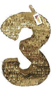 Gold Number Three Pinata
