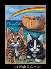 Tuxedo Bengal Kitten Cat Noahs Ark Rainbow ACEO Limited Edition Art Print