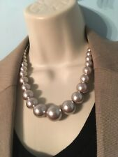 Big Graduated Champagne Pearl Fashion Necklace - Unsigned 18""