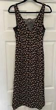 H&M Lace Panel Dress 90s 00s V Neck Side Split Floral Black Low Back 8
