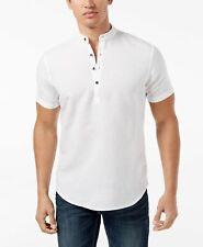 New $99 Inc International Concepts Men White Short-Sleeve Linen Henley Shirt XXL