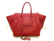 Auth CELINE Luggage Small Square Phantom Red Leather Tote Bag