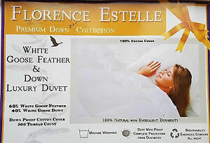 Florence Estelle Luxury 40% Down Duvet Goose Feather All Sizes 13.5 & 15.0 Tog