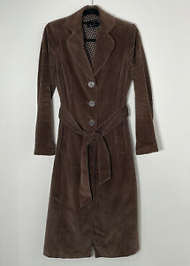 PER UNA Brown Needle Cord Corduroy Long Coat Button Up Belted UK 8