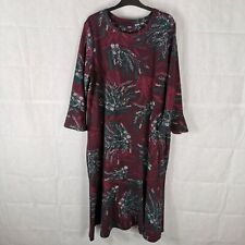 Ladies Dress Size 20 NEXT Burgundy Stretch Midi Bell Sleeve Fern Print