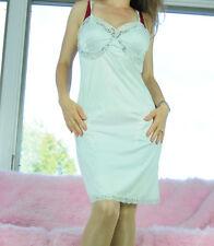 VTG Gaymode Fancy French Lace Insert Blue Nylon Classy Full Slip Dress sz 36