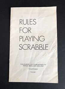 TRAVEL SCRABBLE SPARE/REPLACEMENT INSTRUCTIONS BOOKLET Vintage Edition Spear's
