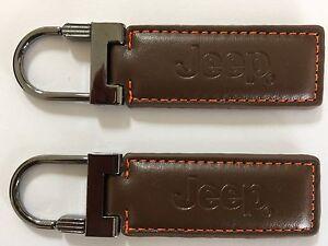 New Jeep Key Chain Ring Genuine Brown Leather Wrangler USA Grand Cherokee