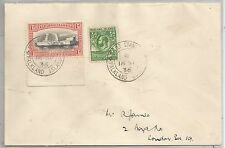 FALKLAND IS  1936  COVER TO LON  FRANKED BY HALFPENNY WHALE & PENGUIN +1d CENT.