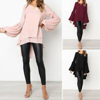ZANZEA Women's Long Sleeve Double Layer Shirt Tops Asymmetrical High Low Blouse