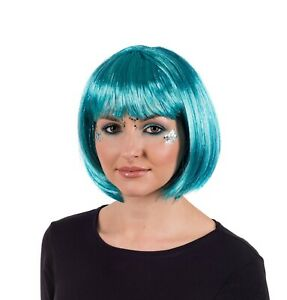 Women`s Deluxe Blue Glitter Wig Adult Blue Bob Hair for Festival Party Clubbing