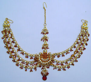 Gold Plated Bollywood Indian Jewelry Red Mathapatti Cubic Zerconia Tikka