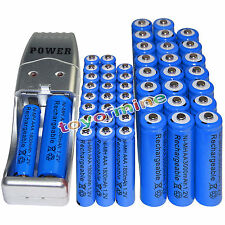 24x AA 3000mAh+24x AAA 1800mAh 1.2V NI-MH Rechargeable Battery +USB Charger