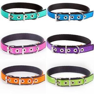 Dog Collar Strong Adjustable Pet M/L/XL Colours Fabric Nylon Padded DogCentre®