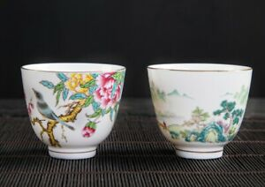 Bone China Hand Painted Chinese Landscape Flore Bird Porcelain Tea Cup Gold Rim
