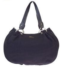Authentic Burberry BLUE LABEL Shoulder Bag Check Nylon Leather Black 07BE651