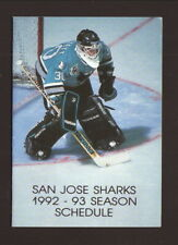 San Jose Sharks--Jeff Hackett--1992-93 Pocket Schedule--Budweiser