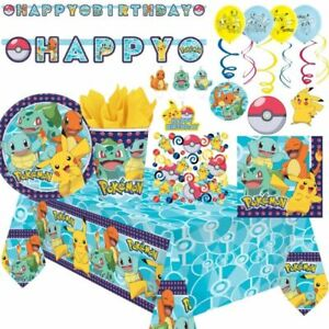 Pokemon Pikachu Party Supplies Birthday Party Tableware Decorations and Balloons