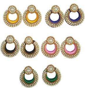 Indian Women Silk Thread Earrings 100 Pairs Bulk Order Whole Sale Price Jhumki