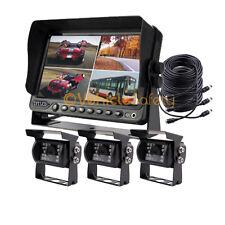"7"" Quad Monitor DVR Video Recorder Backup camera System For Truck RV Kit"