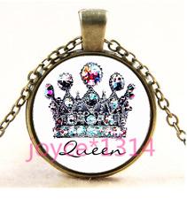 Chain Pendant Necklace Ts-3742 Vintage Crown Cabochon bronze Glass