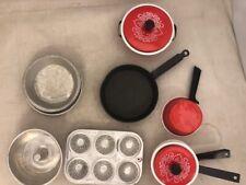 Play dishes - metal - muffin tin, angel food cake pan, skillet, pot, pans