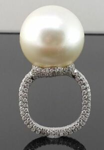 Stunning 14ct Solid White Gold Finish Pearl sparkly Ladies Statement Ring Size 6