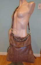 B.Makowsky Amazing Light Brown Leather X-Large Shoulder Bag EUC