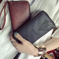 Fashion Women Lady Long Leather Leaf Purse Wallet Clutch Bag Card Holder Handbag