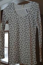 "Womens PacSun ""Kirra"" Grey/Ivory Long Sleeve Shirt Top Size:  Large *NWT*"