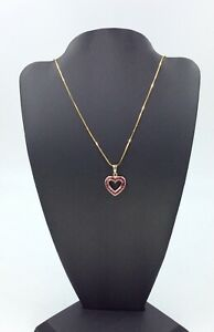 """10K Yellow Gold Ruby Heart & Snake Chain Necklace, 24"""", 4.32 Grams, Pre-Owned"""