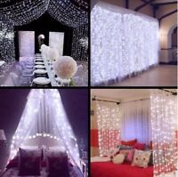 2X2M 3X3M 6x3M LED Indoor Outdoor Curtain Fairy Lights Xmas Party Home Decor UK