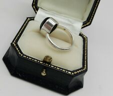 Large Cabochon Onyx in a Deep Silver Setting Unusual Style Ring Size M.5
