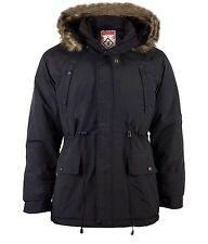Mens Winter Padded Hooded Fishtail Parka Coat Jacket Detachable Hood Post Black S