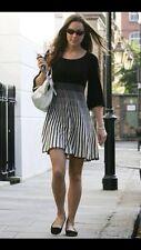 French Connection Sunrise Tellin Knit Black & White Stripe Dress 12