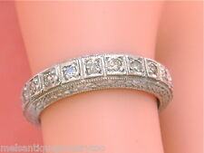 VINTAGE .66ctw DIAMOND PLATINUM WIDE ETERNITY BAND RING 1950 size 6.75 - 7