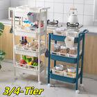 3/4 Tier Kitchen Trolley Rack Rolling Cart Storage Shelf Holder Home  UU
