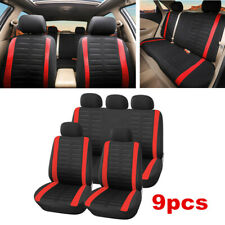 9pc Full Car Seat Cover Front Rear Seat Cushion Protector Interior Accessories