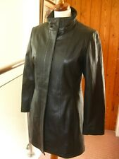 Ladies NEXT black real leather COAT UK 12 10 long line duster trench 60s zip