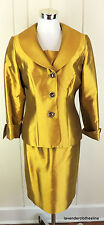 Lily & Taylor 8 Gold Silk Wool Jewel Button 2 Piece Cocktail Evening Skirt Suit