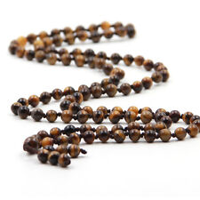 6mm Tiger Eye Gem Tibet Buddhist 108 Prayer Beads Mala Necklace Knot