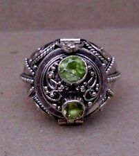 Handmade Sterling Silver Double Peridot Poison or Cremation Ring Size 6-7-8